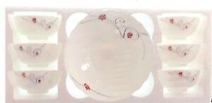 7 Piece Opal Glass Bowl Set Soup Fruit Desert Serving Bowls Set Dishwasher Safe