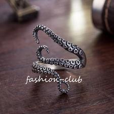 Gothic Unisex Women Antique Silver Adjustable Octopus Rings Titanium Steel Ring