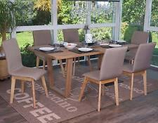 6x chaise de salle à manger Zadar, fauteuil, rétro, tissu ~ marron avec couture