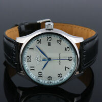 Mens Watch Automatic White Dial Silver Leather Strap Date Display Analog Luxury