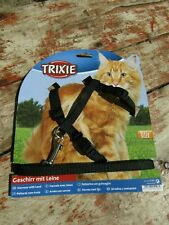 Trixie Cat Harness Black Nylon With Lead Large Size