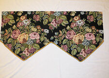 """TWO (2) Floral Tapestry Valance Black Background Gold Rope Trim 50.5x15.5x25"""""""
