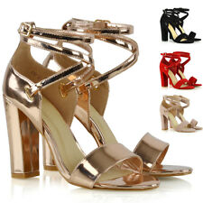Womens Strappy Sandals Block Mid High Heel Ladies Open Toe Evening Party Shoes
