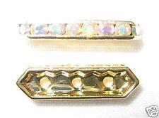 12 Swarovski Spacers Gold/Crystal AB 3 holes - NS304