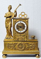 Antique 19th century French Figural Gilt Bronze Clock : Muse with Mandolin