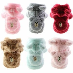 Small Pet Dog Jacket Clothes Warm Fleece Cute Bear Hoodie Coat Puppy Cat Coat