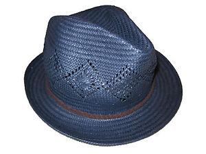 Ralph Lauren Blue Panama Fedora Hat Brown Braided Leather Trim Cap