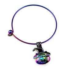 Rainbow Color Bangle Bracelet Pick a Pearl Halloween Cat Locket Pendant B-C845