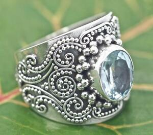 Handmade Sterling Silver .925 Solitaire Blue Topaz Dome Ring w Bali Swirl Accent