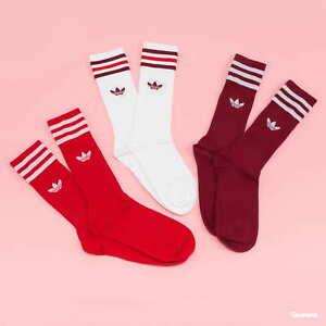 Adidas Adult Unisex 3 Pack Socks White / Burgundy / Scarlett Red GN3073 Sz M L