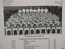 1983 Bethany College Football Game  Program(w/WALLY  NEEL/TOM REDDY/STEVE ADAMS)
