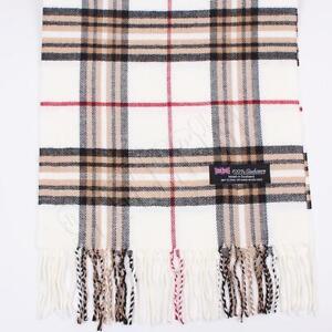 Men's 100% CASHMERE Scarf White tartan Plaid Stripe Design Soft