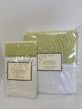 Pottery Barn Banded Hemstitch Bed Duvet Cover Full Queen FQ 1 Sham Euro Green