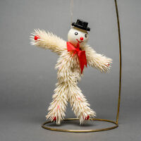 Rare Vintage Plastic Bendable White Happy Abominable Snowman Christmas Ornament