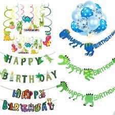 Dinosaur Happy Birthday Banner Garlands Balloons Bunting Party Decoration Swirls