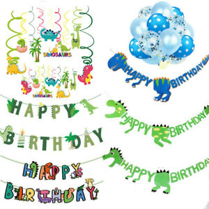 Dinosaur Happy Birthday Banner Garlands Balloons Bunting Party Decoration Swirls