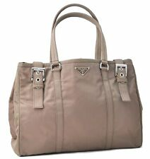 Authentic PRADA Nylon Tote Bag Brown A4779