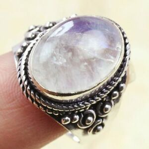 Rainbow Moonstone 925 Silver Plated Gemstone Ring of US Size 5.75 Ethnic Gift