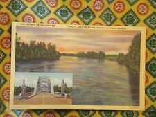 Vintage Postcard Sunset On The Santiam, Santiam Bridge, Pacific Highway, Oregon
