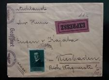 HUNGARY express double nazi censor cover WWII to Wiesbaden