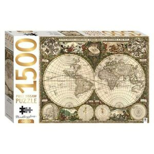 Mindbogglers Gold 1500pc VINTAGE WORLD MAP Jigsaw Puzzle by Hinkler - New