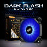darkFlash 120mm Dual Blade BLUE LED Computer PC CPU Cooler Case Cooling Fan