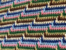 Vintage Crochet Afghan Lap Blanket Handmade Multi-Color Zig Zag Chevron Striped