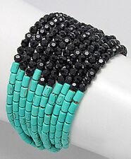"STYLISH 8.5"" Turquoise & Crystal Glass Bracelet Statement Piece Retail $79"