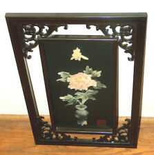 Chinese ORIENTAL Wall Art Panel Lacquer Carved Wood w/ JADE & SOAPSTONE Signed