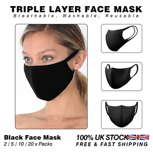 Triple Layer Cotton Face Mask Anti-Dust Breathable Mask | Black 2/5/10/20 x Pack