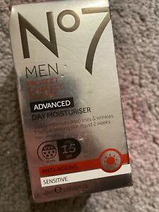 Men No7 Protect & Perfect Intense Advanced Day Moisturiser SPF15 50ml New