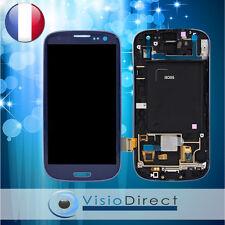 Ecran vitre complet sur chassis pour Samsung Galaxy S3 i9300 bleu
