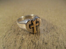 James Avery Sterling Silver & 14k Gold Cross Heart Ring, Size 5, 6.8g