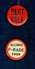 """1959 PRINCETON ALUMNI P-RADE 1-3/4"""" PINBACK + 1-3/4"""" """"BEAT YALE"""" PINBACK"""