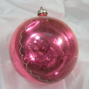 Large Vintage Pink Christmas Tree Ornament / Bauble Half Transparent w/ Tinsel