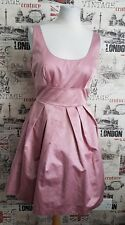 WAREHOUSE NUDE PINK SKATER DRESS MESH INSERT SIZE 12 UK