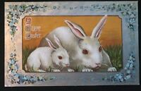 ~Cute~White Bunny Rabbits & Flowers~Antique Easter Postcard-s146