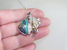 GENUINE 0.21ct Sapphire & Azurite in Malachite Pendant Solid Sterling Silver 925
