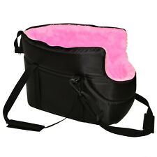 DOG PUPPY CARRY BAG SHOULDER TRAVEL CARRIER BLACK with PINK FUR CAT PET ANIMAL