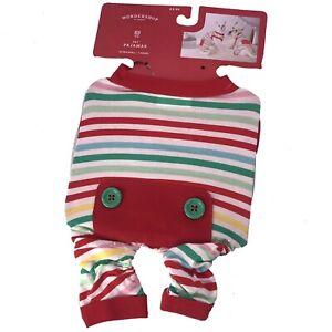 Pet Dog Pajamas Holiday Multicolored Striped Extra Small Wondershop Christmas