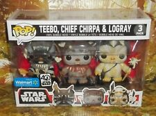 FUNKO POP STAR WARS EWOKS TEEBO CHIEF CHIRPA LOGRAY WALMART EXCLUSIVE 3-PACK