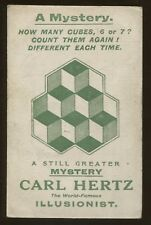 Magician Illusionist Carl Hertz A Mystery How Many Cubes Post Card
