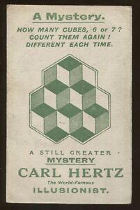 Magicien Illusionniste Carl Hertz Un Mystère How Nombreux Cubes Carte Postale