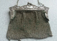ANTIQUE SILVER PLATE EDWARDIAN CHAIN PURSE  / BAG - STAMPED GER SILV
