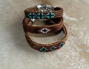 Western Horsehair Beaded Bracelet Handcrafted 7 Styles Horse Hair