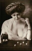 """"""" Winning Miss """" ca. 1900 Saloon Girl with Dice, Old Wild West Gambling Postcard"""