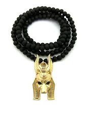 """NEW ANCIENT EGYPT GOD ANUBIS PENDANT 6mm/30"""" WOODEN BEAD CHAIN NECKLACE RC1872"""