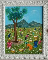 Rodrigue Richard BAUMWOLLPFLÜCKER Gemälde um 1980. Naive Kunst Haiti Karibik