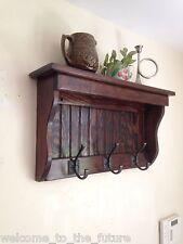 "24"" Handcrafted wooden wall mount Coat Rack, Display Shelf, Key Hook, R Mahogany"