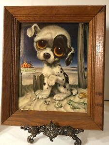"""Vintage 8"""" x 10"""" Big Eyes 60's Pity Puppy Print  by Gig in Wood Frame ❤️"""